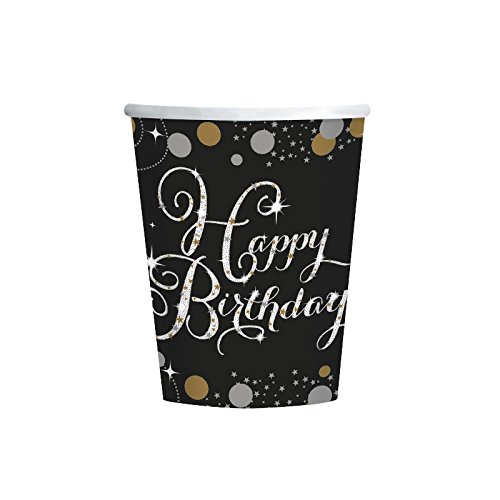 PARTY DISCOUNT ® Becher Happy Birthday Sparkling 250 ml, 8 STK.