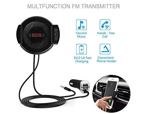 Bluetooth FM Transmitter, 3 in 1 KFZ HIFI Funk Radio Adapter, Audio Stereo Receiver, Luftentlüftungshalter Handyhalter, Auto Ladegerät, Radio Transmitter Car Kit mit 1 USB Port, 3,5 mm Audio Kabel