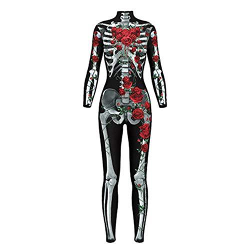 GIRlAA Frauen Rose Skeleton Bewegung Atmungsaktive Halloween Party Phantasie Spielen Kleidung Yoga Hosen Trainingsanzug für Frauen Lauf Leggings x1 L (Halloween Bibel-spiele Für)