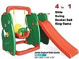 ATnine 4 in 1 Elephant Slide and Swing for Kids Home School Garden