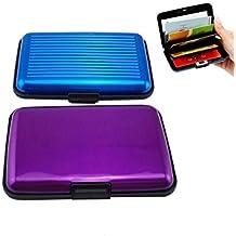 zhichengbosi Pack de 2Tarjeta de crédito de aluminio cartera RFID bloqueo caso tarjeta de Crédito Titular para hombres y mujeres negocio tarjeta caso, color azul y morado