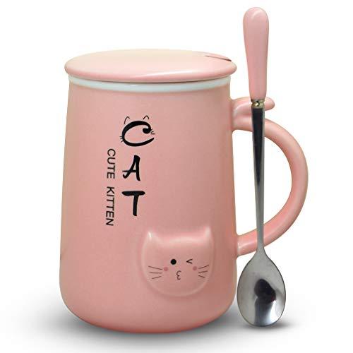 Kaffeebecher mit Deckel und Löffel aus Keramik, lustige Katzen-Teetasse, Geschenkidee für verrückte Katzen, Frauenliebhaber, 312 ml, Rosa rose (Niedliche Halloween Namen Für Katzen)