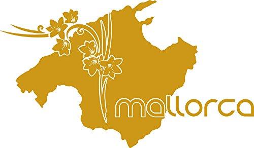 GRAZDesign 630298_57_820 Wandtattoo Wohnzimmer Sticker Mallorca Länder Insel Karte Umriss Blumen Erde (98x57cm//820 Mustard)