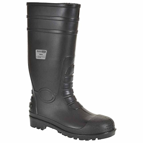 Portwest Mens Steelite Toe Capped Total Safety Work Wellington Welly Boots Black