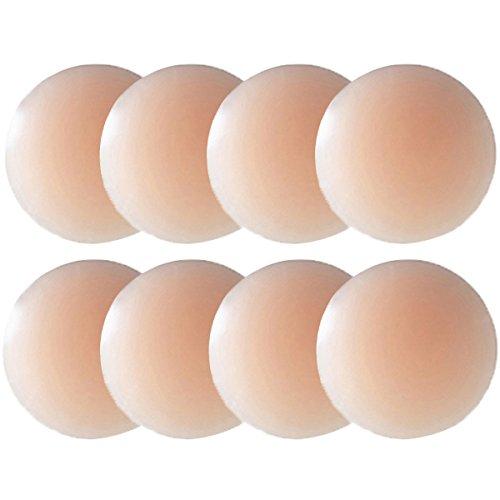 Nipple Cover - Silikon Nippelabdeckung Gel Brustwarzenabdeckung Selbstklebend & Wiederverwendbar Brust Aufkleber unter BH Bikini & Badeanzug,M,Farbe Apairs Round