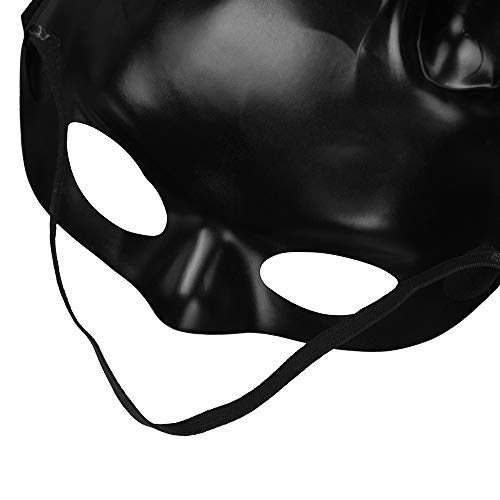 HuhuaHalloween Mask Adult Decoration Matte Easter Party Rabbit Ears Mask Half Face Masks Nightclub Bar Masquerade  Black