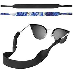 MoKo Correa de Gafas de Sol, [2 Paquetes] Cómodo y Suave Cuerda de Gafas de 100% Neopreno, Mantiene sus Gafas de Seguridad ya sea Ir a Correr, Esquiar, Subir, Ver Concierto, (Noche Estrellada & Negro)