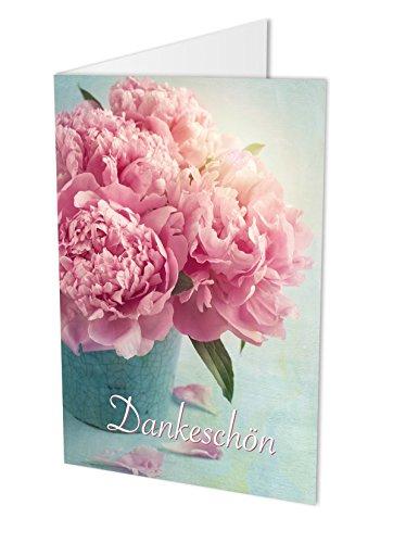 10 Dankeskarten (Klappkarten) PFINGSTROSEN und 10 hochwertige, haftklebende Umschläge. Danke sagen, Hochzeit, Geburt, Baby, Taufe, Geburtstag, Jubiläum