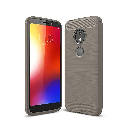 LAGUI Hülle Geeignet für Motorola Moto E5 Play Go, Ultradünne Elegantes Design Stil Handyhülle, Weiche Silikon Schutzhülle, Flexibles TPU Anti-Scratch Schale, grau