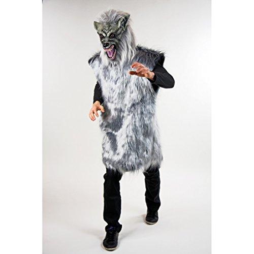 NET TOYS Biest Kostüm Wolf Wolfskostüm XL Böser Wolf Kostüm Grauer Wolf Verkleidung Wolfkostüm Karnevalskostüm Faschingskostüm