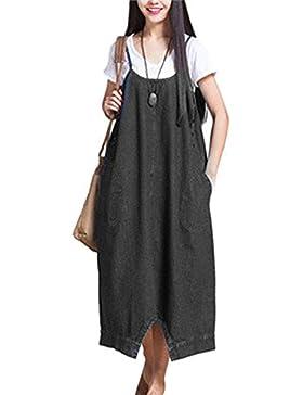 WOZNLOYE Primavera Donne Vestiti Moda Giarrettiere Denim Lungo Vestito con Tasca Casual Sciolto Irregolare Abito