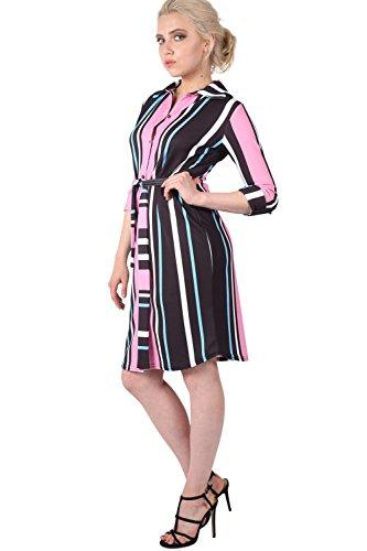 PILOT® rayure multiples crêpe ceinturée robe chemise rose bonbon