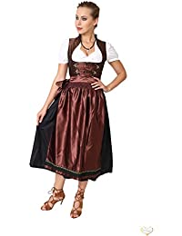 Dirndl Set 3tlg.-Trachtenkleid, Bluse und Schurze - Trachtenmode Dirndl lang Schwarz und Braun