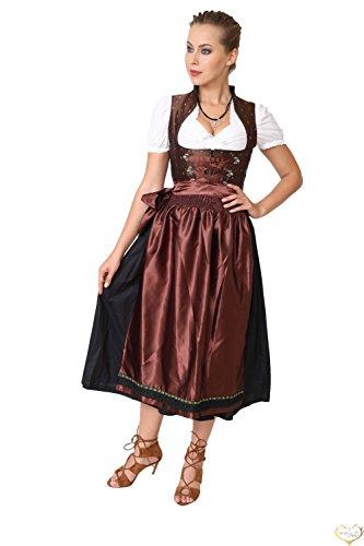 Dirndl Set 3tlg.-Trachtenkleid, Bluse und Schurze - Trachtenmode Dirndl lang Schwarz und Braun - Grosse: 42