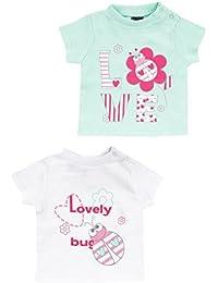 """Jacky Baby - Mädchen T-Shirt Kurzarm-Shirt 2er-Pack """"Käfer"""" weiß/mint 6121777"""