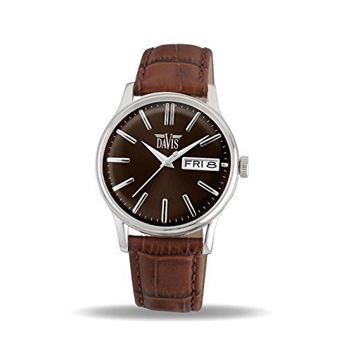Davis 2091 - Mens Classic Watch Retro Brown Dial Day/Date Brown Leather Strap