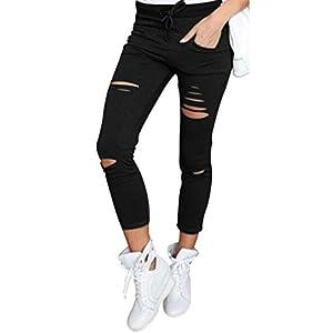 Yidarton Damen Loch Hose Zerrissen Jeans Risse am Knie High Waist Jeanshose Skinny Hochbund (S, Schwarz)