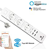 eMylo Steckdosenleiste USB Intelligent, Surge Protector Mehrfachsteckdose, 3 Steckdosen, AC WiFi Power Strip mit 4 USB-Ports, Alexa Echo/Smart Vocal Home Timer