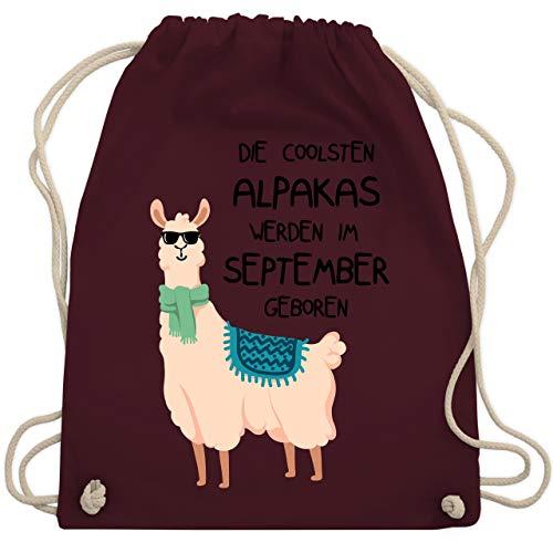 Geburtstag - Die coolsten Alpakas werden im September geboren Sonnenbrille - Unisize - Bordeauxrot - WM110 - Turnbeutel & Gym Bag