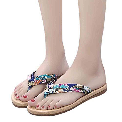 JUSTSELL ▾ Flip Flops Frauen, Sommer Damen Slim Zehentrenner Premium Flip Flop Für Damen Floral Strand Flip-Flops Rutschfest Flache Schuhe
