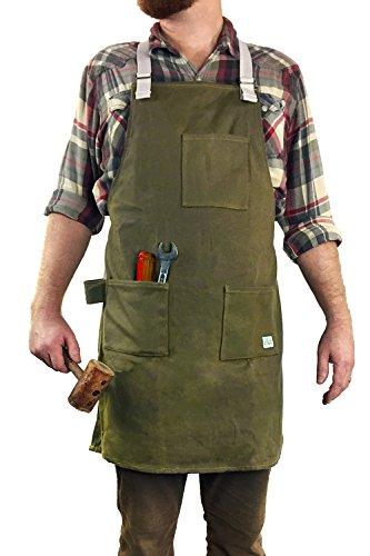 H&O Allzweck-Arbeitsschürze: strapazierfähiges gewachstes Segeltuch mit Schulterriemen und 3 großen Taschen, Werkzeugschlaufe, vollständig verstellbar, strapazierfähig, von H&O Trading Co. -