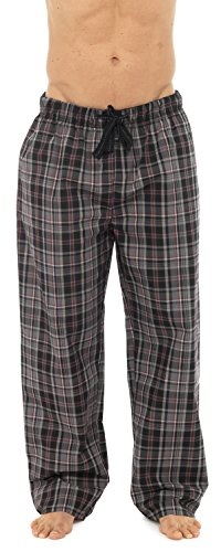 Socks Uwear Herren Plaid kariert Polycotton Sommer kühl Pyjamahose Gr. Large, schwarz (Pyjama Hose Nachtwäsche Gewebte)