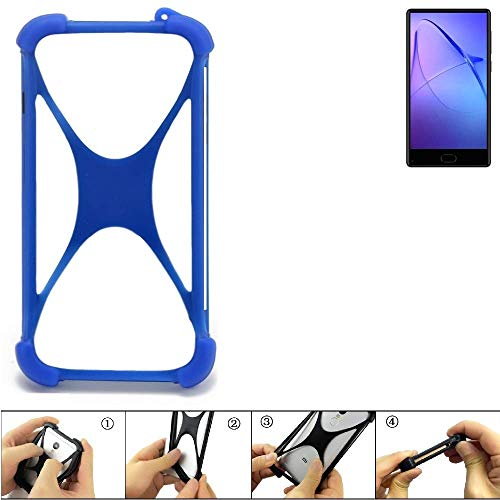 K-S-Trade Bumper für Leagoo KIICA Mix Silikon Schutz Hülle Handyhülle Silikoncase Softcase Cover Case Stoßschutz, blau (1x)