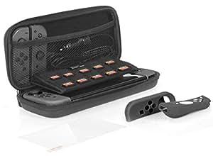 AmazonBasics - Kit di accessori per Nintendo Switch, con custodia e pellicola protettiva per lo schermo in vetro temperato - Nero