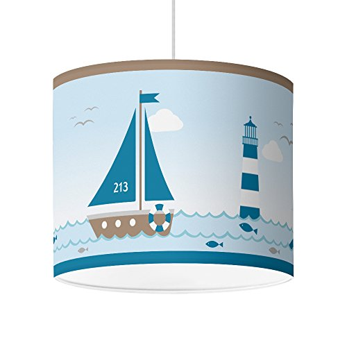 Lampenschirm für Babyzimmer von Hapytaly - Maritimes Motiv für Baby- und Kinderlampen, Mädchen...