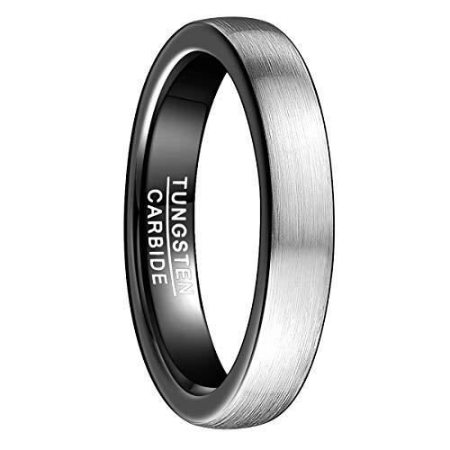 Natur Fashion - Fashion Ring Herren Damen 4mm Silber Schwarz Gebürstet aus Wolframcarbid für Jugendliche Hochzeit Verlobung Alltag Größe 65 (20,7) - Ring Hochzeit Männer Silber