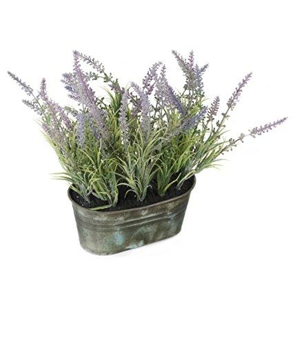 Closer 2 Nature Artificial Flower, Künstliche Kräuter Pflanze im Deko Zinktopf, 28 cm, violett/lavendel -