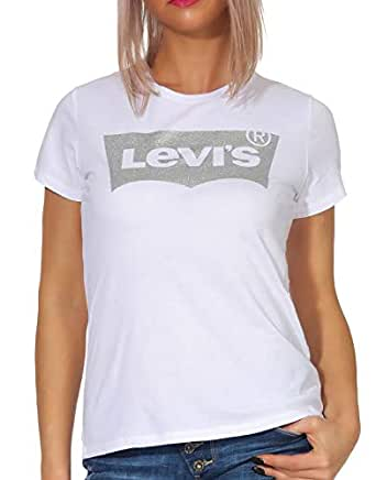 Levi's The, T-Shirt Donna, Bianco (Holiday Tee White 0484), XX-Small