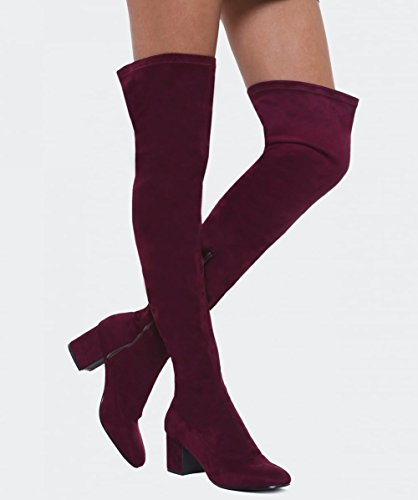 Inuovo Da Donna High Melinda Thigh Boots Bordeaux Bordeaux