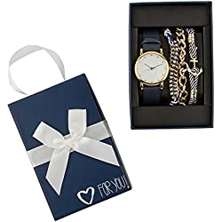 "SIX ""Gift"" jewellery set, blue watch with 3 matching bracelets in gold white and blue, marine, in a cute ""for you"" gift box, present (388-288)"