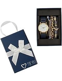 """SIX """"Geschenk"""" Set aus schwarzer Damen Uhr und drei Armbändern, maritim, gold, weiß, blau in hochwertiger Geschenkbox mit Herz (388-288)"""