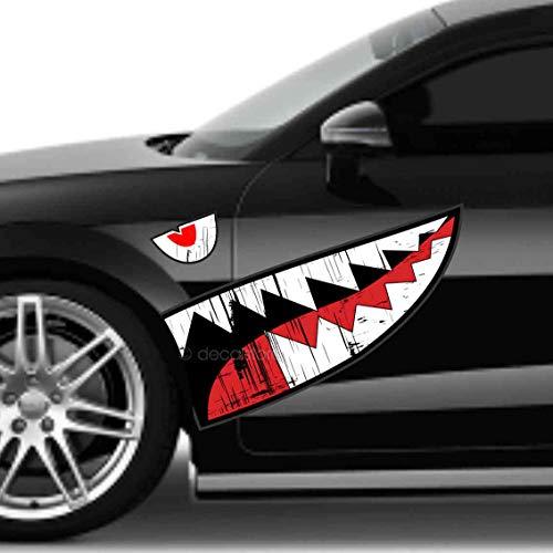 decalstore Autoaufkleber Haifisch Maul Shark Face Bomber WW2 Zähne Aufkleber für Auto Motiv Folie
