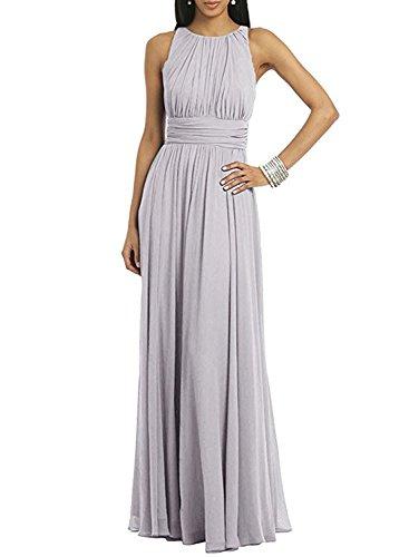 Azbro Women's Sleeveless Solid Pleated Long Prom Dress Grey