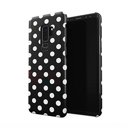 Black Polka Dots Pattern Dünne Rückschale aus Hartplastik für Samsung Galaxy S9 Plus Handy Hülle Schutzhülle Slim Fit Case Cover Dots Cover Case Snap