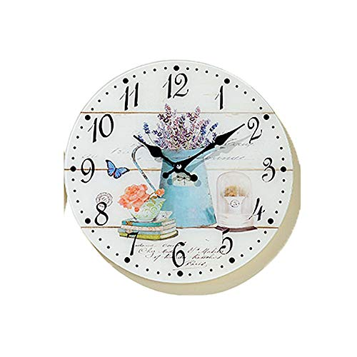 Tamia-Home Wanduhr Isla Glasuhr D34cm Wanddekoration Uhr Bilderuhr Glasbilder 2838200 (Blaue Kanne)