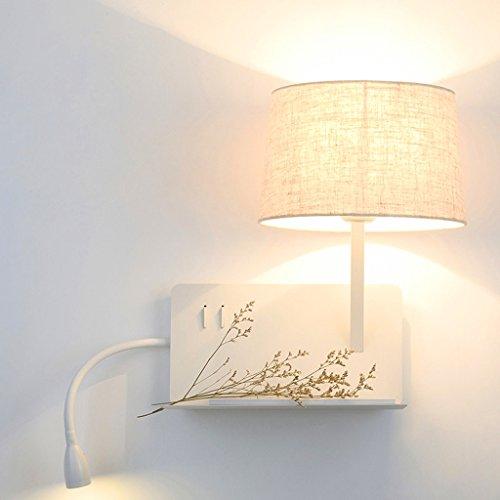 QQB Außenleuchte Wandleuchte Nachttischlampe Schlafzimmer Leselampe Postmodern Creative Rack Wandleuchte mit Schalter mit USB Lade Lampe (Farbe : Recht)