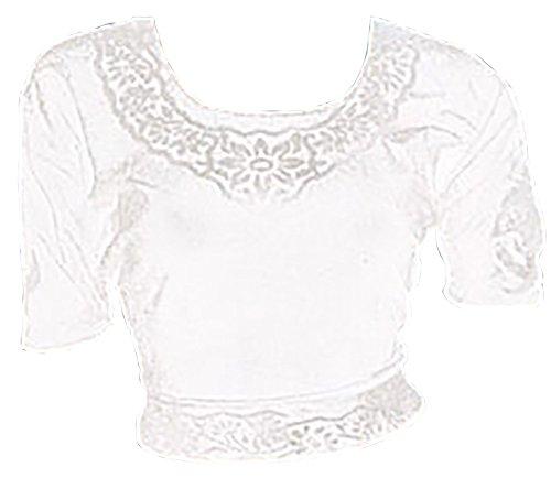 Weiß Choli (Sari Oberteil) Samt Gr. 38 / 40 Gr. M ideal für Bauchtanz