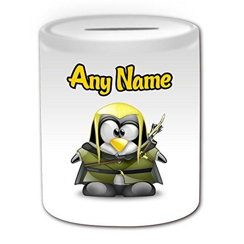 Personalisiertes Geschenk–Legolas Spardose (Pinguin Film Charakter Design Thema, weiß)–Jeder Name/Nachricht auf Ihre Einzigartiges–Kostüm Film Superheld Held der Hobbit Herr Der Ringe Sindar Elf Woodland Realm Gefährten (Baby Legolas Kostüm)