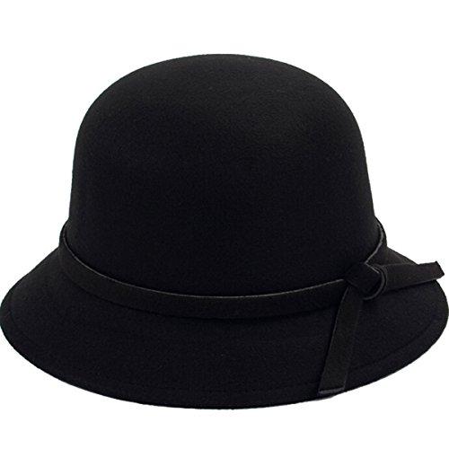 Butterme Frauen Dame Vintage Wool Round Fedora Bogen Cloche Derby Hüte Eimer Hüte (Schwarz)