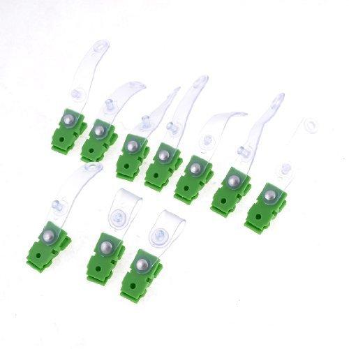 10 Botón PC verde de plástico transparente de cierre de la insignia del trabajo de oficina Clip