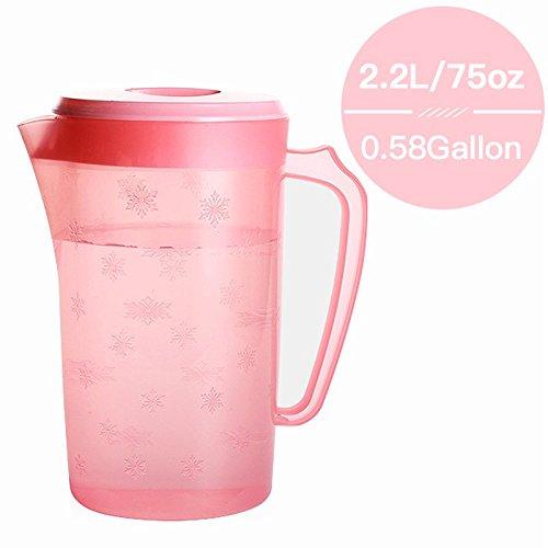 UPSTYLE BPA-frei Kunststoff überzogen Getränke Krug Big Kapazität kaltem Wasser Behälter Kunststoff Wasser Flasche, xbh0397, 74oz rose (Spitze Krug)