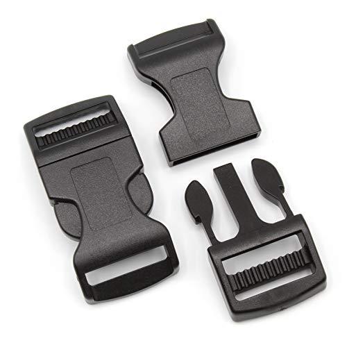 Steckschnalle 25mm Schwarz gebogen POM Acetal [10 Stück] HEAVYTOOL® Steckverschluss Klippverschluss Klickverschluss - Schwarz Gebogen