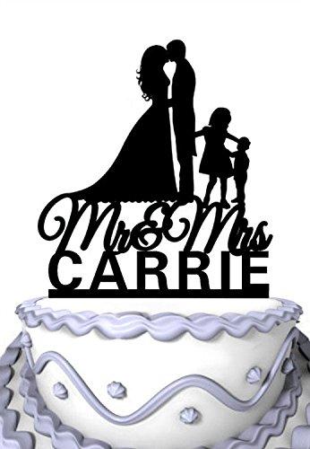 meijiafei Personalisierte Hochzeit Cake Topper, Ihre Namen Kissing Couple angepasst, mit Kinder Silhouette Familie Party Supply