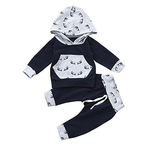 Neugeborenen Strampler Hirolan Schneeoverall übergangsjacke 2pcs Kleinkind Baby Junge Mädchen Kleider Set Hirsch Drucken Kapuzenpullover Lange Hülse Tops Hose Outfits (80cm, Grau)