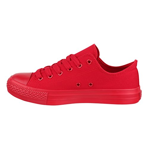Elara Femmes Baskets Low Loisirs Chaussures de Sport Basic Lacets All Red