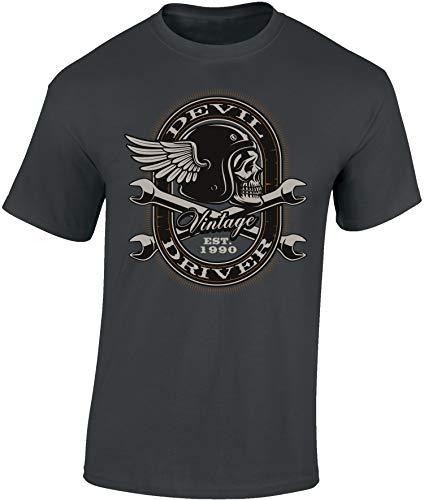 Camiseta: Vintage Devil - Regalo Motero-s - T-Shirt Biker Hombre-s y Mujer-es - Motocicleta - Bike - Chopper - Moto Club - Anarchy - Motociclismo - Club - Calavera Skull - Motocross (Gris L)